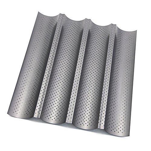 Htianc Baguette-Backblech, Antihaft Baguetteblech,Baguetteform für Backen,37,8 x 32,7cmx2,5cm
