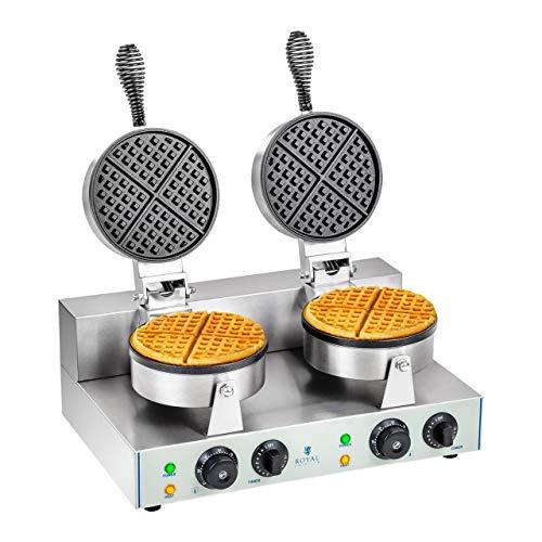 Royal Catering RCWM-2600-R Waffeleisen Waffelgerät Waffelautomat Waffle Maker Belgische Waffel Doppelt Rund (2 x 1.300 Watt, Timer 15 min, Teflon & Aluminium,...