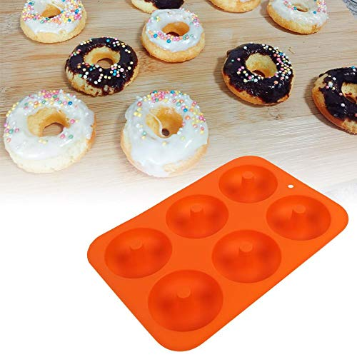 Valentinstag Karneval Donutform, Silikon-Donut-Backform mit 6 Vertiefungen(Orange)