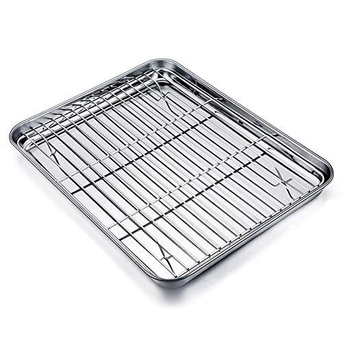 TEAMFAR Backblech mit Abkühlgitter, Edelstahl Klein Backform Mini-Ofenschale und kuchengitter auskühlgitter, 26x20x2.5cm, gesund & ungiftig, leicht zu...