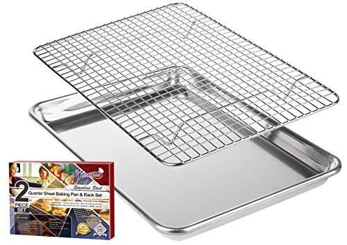 KITCHENATICS Brat- und Backblech mit Küchengitter: 1/4 Aluminium Backblech mit Edelstahl Auskühlgitter - 24,4 x 33 cm