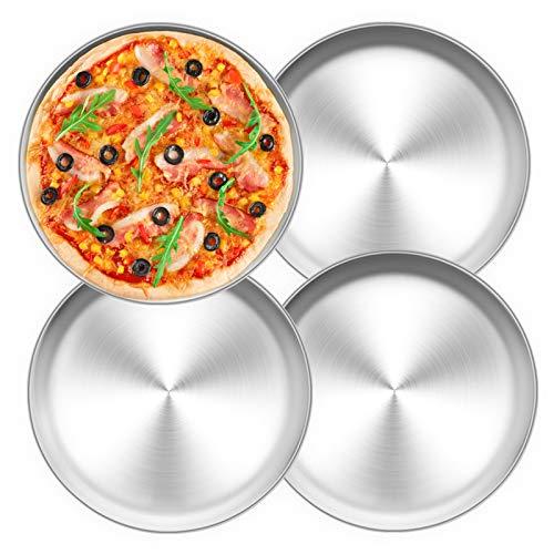 TEAMFAR Pizzablech 4er-Set, Edelstahl Rund Pizzaform Pizza Backblech zum Backen im Ofen, ∅ 26 cm, Gesund & Langlebig, Leicht zu reinigen &...