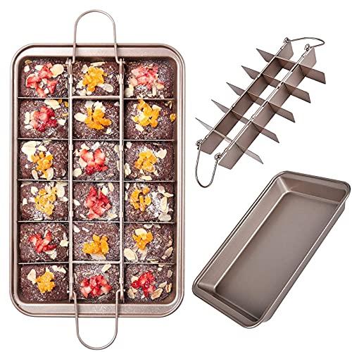 Brownie Backform Kuchenform Brownie Pan mit Trennwänden und Base Multifunktions Kuchenblech Antihaftbeschichtete Haltbarer Kohlenstoffstahl