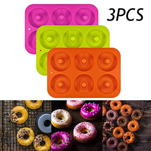 IsMoon Donut Backform, 3 Stücks Donutform Antihaft Form Behälter, Donut Silikonform Backform Silikon Backformen, 26 x 18 x 2,3 cm, 6 Vertiefungen (3 Stücks)