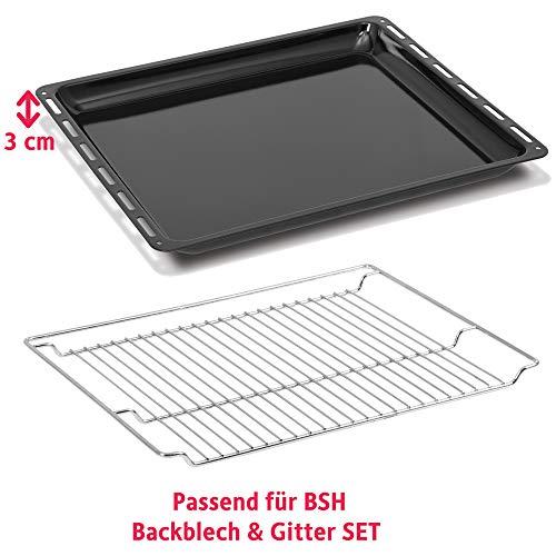 ICQN Bosch Siemens Neff Constructa Set Backblech Grillrost für Backofen   Backofenrost und Backblech Set   Gitter Backblech Set   Bachblech 455 x 377 x 30mm  ...