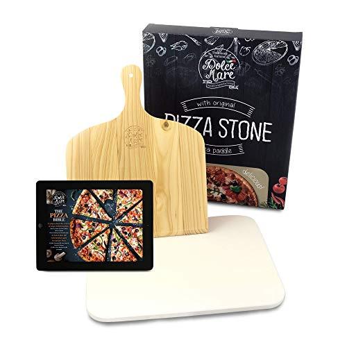 DOLCE MARE Pizzastein Beige - Pizza Stein aus hochwertigem Cordierit für den Backofen & Grill - Backstein für knusprige Pizza wie beim Italiener - Inkl....