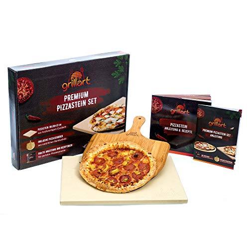 grillart® Premium Pizzastein für Gasgrill und Backofen im Set – Hochwertiger Pizzastein rechteckig inklusive Pizzaschieber und Rezeptbuch – auch optimal...