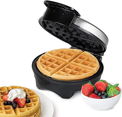 Waffeleisen 1000W, Waffeleisen Belgische Waffel Rund Waffle Maker, Elektrischer Waffelautomat Edelstahl, Einstellbare Temperaturkontrolle, Tiefe Rillen,...