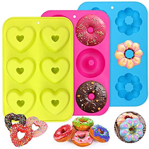 PHOGARY 3 Stück Silikon Donutformen, 6 Hohlräume Donut Backform Antihaft-Backblech, 260℃ Hitzebeständig, für Kuchen, Kekse, Bagels, Muffins (Runde, Blumen...