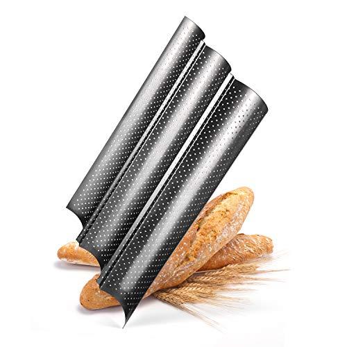 Die Dietzes Baguette Backform 3 Mulden 38 x 24,4 x 2,4 cm mit Antihaftbeschichtung, Baguetteblech, Brotbackform und Stollenbackform klein, Grillblech inklusive...