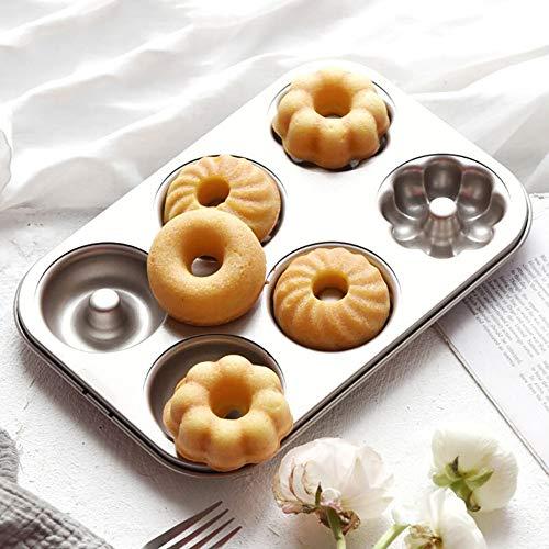QJJML Donut-Backform - Mini-Donut-Backblech, 3 Muster & 6 Vertiefungen, Antihaft-Donut-Form, Kohlenstoffstahl (3 StüCk)