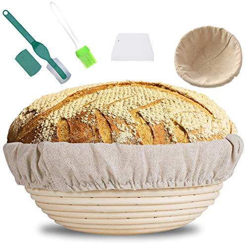 MOOING Gärkörbchen rund, 25 cm Proof Korb für Brot und Teig, Der ideale Gärkorb aus natürlichem Peddigrohr–mit Leineneinsatz+Teigschaber+ Bread Lame...