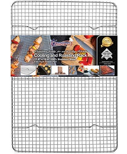 KITCHENATICS Edelstahl-Grillrost & Auskühlgitter, passt auf Backbleche für das Backen von Keksen und Kuchen, Räuchern, Grillen, & Auskühlen – Rost-...