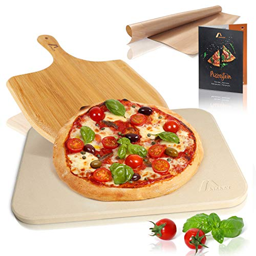Amazy Pizzastein inkl. Bambus Pizzaschaufel, Dauerbackfolie und Beileger – Der Ultra-hitzebeständige Brotbackstein verleiht Ihrer Pizza den original...