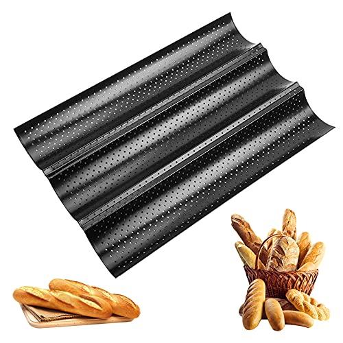 Samione Baguette-Backblech, Baguette Backform, Baguetteform mit Antihaftbeschichtung Kann 3 Brote Halten,Edelstahl hochwertige Backform Französisches Brot...