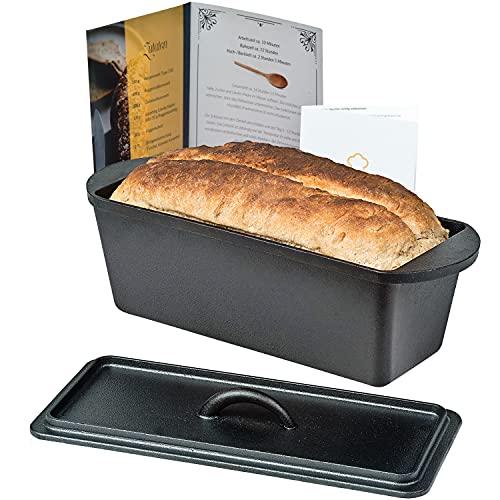 Chefarone Gusseisen Brotbackform mit Deckel - Backform für Brot und Kuchen inklusive Anleitung zum Einbrennen - Kastenform Backen Braten rechteckig - Gusseisen...