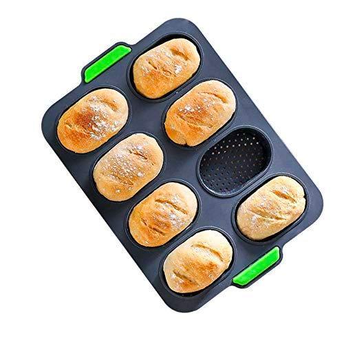 Pamura - Brotfix - Brotbackform - Backform für 8 Brötchen - Silikon - antihaftbeschichtet