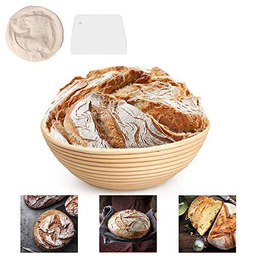DUTISON 9 Zoll Gärkörbchen mit Leineneinsatz Brotschale Brotform, Rund 25 x 8.5cm Peddigrohr Korb Gärkorb mit Teigschaber für Brot bis zu 0,8 kg Teig, Ø 22...