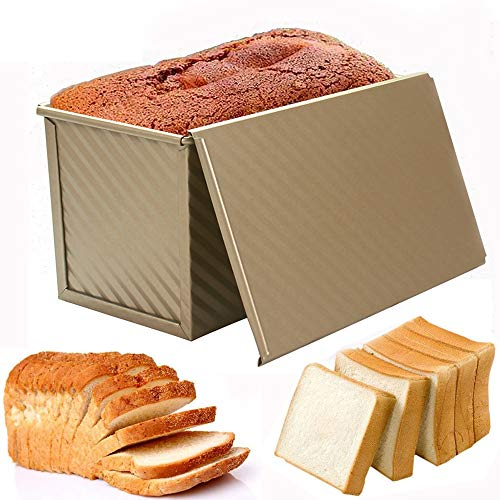 Kastenform zum Backen, antihaftbeschichtet, Toastpfanne mit Deckel, Backen Pullman Brotbackform Backblech, Toastbox/Sandwichform Toastform, gewellter Stil, Gold