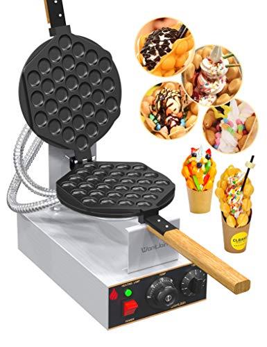 WantJoin Bubble Waffeleisen Waffle Maker Elektrische Waffelmaschine Waffelgerät Edelstahl Ei Waffeleisen 180° Drehbare Elektrische 1400W 30pcs (Edelstahl)