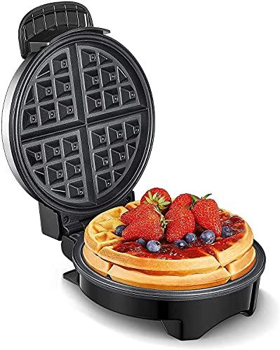 Waffeleisen, Waffeleisen Belgische Waffel Mit Antihaftbeschichtung, Elektrischer Waffelautomat Edelstahl, Amerikanischer Runder Waffle Maker, Temperaturregler,...
