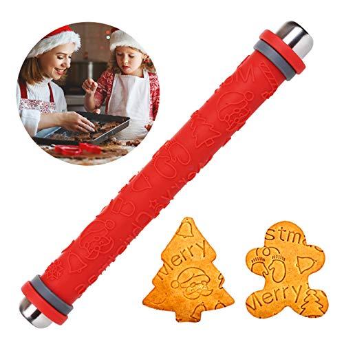 LIHAO Teigroller Silikon Nudelholz Muster Weihnachten Prägerolle Prägung für Teig DIY Keks Backen Dekoration, Rot