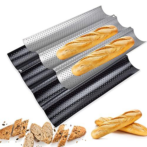 Baguette Backform, 2 Stück Brötchen Backform, Baguette-Backblech mit Antihaftbeschichtung, Baguetteform, Baguetteblech, Brotbackform zum Platzieren und Backen
