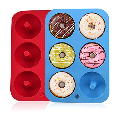 SHARON COOPER 2 Stück, 6 Mulden, antihaftbeschichtet, sichere Silikon-Donut-Backform für Kuchen, Kekse, Bagels, Muffins, blau, rot Moldes de silicona para...