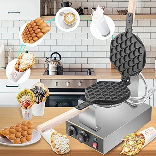 Vogvigo Bubble Waffeleisen, 1400W Egg Waffle Maker mit Antihaftbeschichtung aus Edelstahl, 30 Stück 180° Drehbares Professionelles Bubble Waffeleisen Für...
