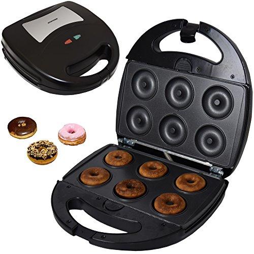 Syntrox Germany Edelstahl Maker Donutmaker Chefmaker SM-1300W Donut mit herausnehmbaren Backplatten