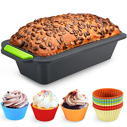 Familybox 11 in 1 Silikon Brotbackform Set, Große Backform Kastenform Antihaftende Backform & 10 Muffin Cupcake Förmchen Muffinform um Backen, Mixen und...