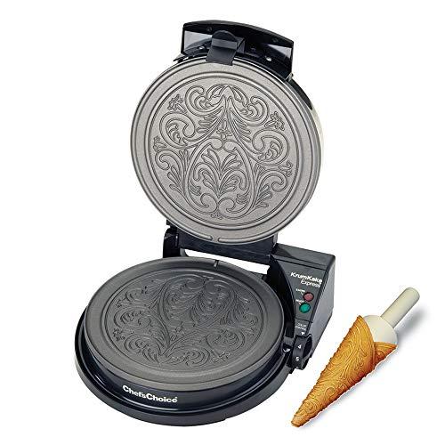 Chef'sChoice 839 KrumKake Express Krumkake Cookie Maker mit Color Select Schnellbacken Sofortige Temperaturerholung schnelle Backen leicht zu reinigen mit...