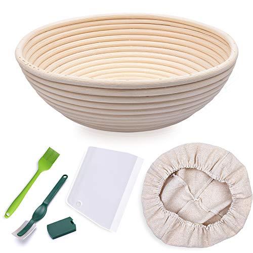 HomeMall Runder Gärkörbchen für Brot, Größe 25,4 cm, für 1000 g Teig, Premium-Rattan, Sauerteig, Gärkorb für professionelle Heimbäcker (mit...