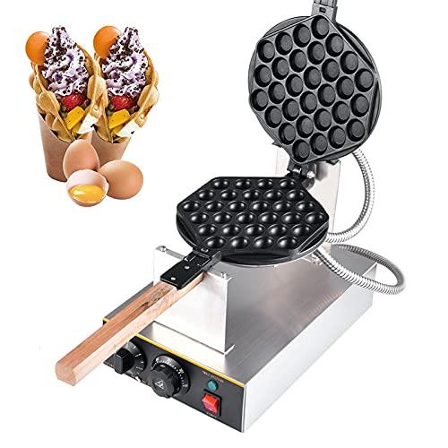Bubble Waffeleisen, Professionelles Bubble Waffelmaker, Gewerblichen 1400w Ei Waffle Maker mit Antihaftbeschichtung aus Edelstahl, 180° Drehbar, 30 Löcher,...