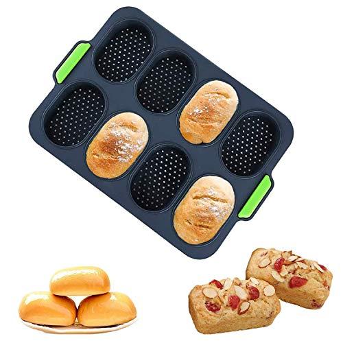 Silikon Baguette Backblech,Silikon Backformen Brötchen,Brötchen Backform,Französische Brot Silikon Backform,Brotbackform für 8 Brötchen,Perfekt für Backt...
