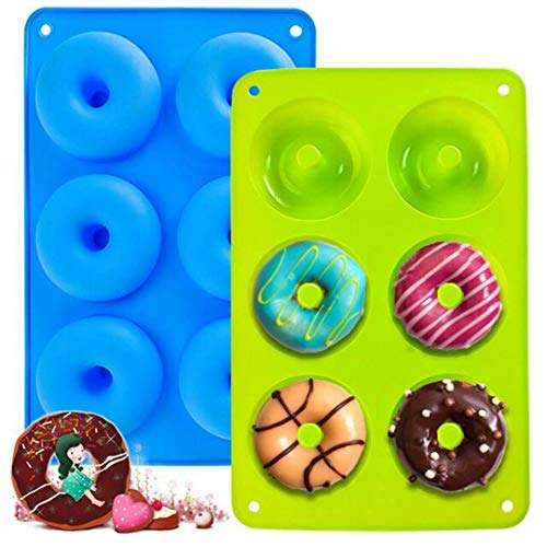 2 Stück Silikon Donut Formen, 6 Hohlraum A ntihaft-Safe Silikon Donut Backform Hitzebeständigkeit Backblech Gelten -40 bis 230 Grad gut zum Machen Kekse,...