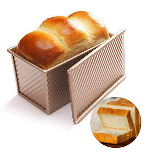 C100AE Brotbackform mit Deckel, Kastenform antihaftbeschichtet, Karbonstahl Brot Toastform, Kuchen Brotbackform Mold, Backform mit Belüftungslöchern für...
