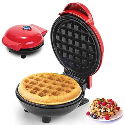 Punvot Mini Waffeleisen Rund, Waffeleisen für Herzwaffeln Runder Waffle Maker, Einzelwaffeln Waffeleisen mit Antihaftbeschichtung, Elektrischer Waffelautomat...