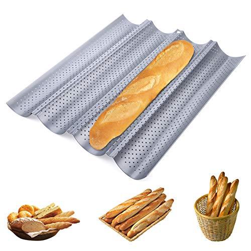 Homewit 4 Mulden Baguette-Backblech, 38 x 32 x 3 cm Baguetteblech für 4 Baguettes, Mit Antihaftbeschichtung, Gleichmäßige Erhitzung und Gute...
