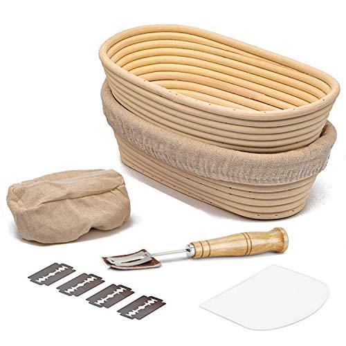 MIUTME Brot Gärkörbchen Oval 2er Set,10 Zoll Gärkorb Brotteig Banneton aus Natürlichem Peddigrohr für professionelle Hausbäcker(mit...