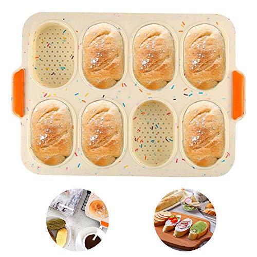 Baguette-Backblech Baguetteblech No-stick French Brot Backformen für Baguettes 4 Fach mit Antihaftbeschichtung - Brötchen Backform Edelstahl Wave Brot backen...