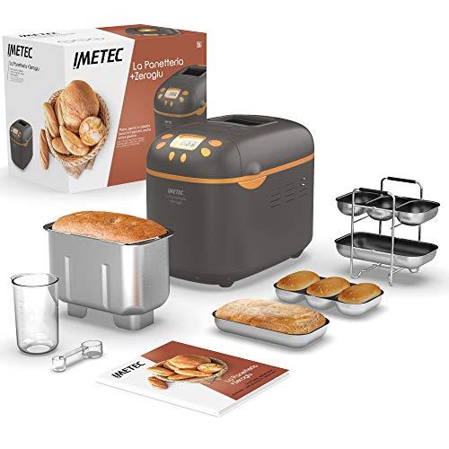 Imetec La Panetteria +Zeroglu, Gerät für Brot, Ciabattas, Brötchen und Kuchen mit natürlichen und glutenfreien Mehlsorten, 20 Programme, 2 Rührschaufeln,...