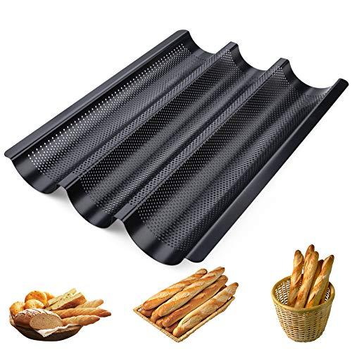 Homewit 3 Mulden Baguette-Backblech, 38.5x28.5x3.5 cm Baguetteblech für 3 Baguettes, Mit Antihaftbeschichtung, Gleichmäßige Erhitzung und Gute...