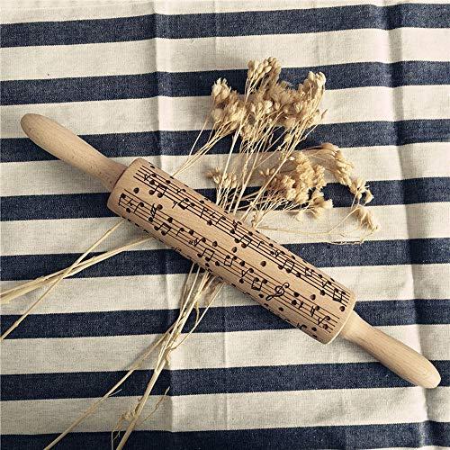 FeiliandaJJ Teigroller Weihnachten 38cm Natürliches Holz Noten Drucken Prägerolle Nudelholz Fondant Roller Backzubehör Werkzeug für Bäcker Fondant Pie...