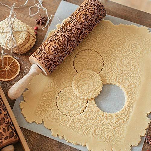 LongcMall Teigroller Nudelholz Muste Prägerolle Holz 3D Prägung Teigausroller Backzubehör mit Blumen und Schneeflocken (41)