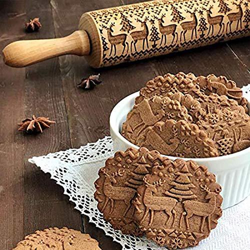 LILITRADE Weihnachten Teigrolle Nudelholz mit Prägung 3D Nudelholz Muster PräGerolle Holz PräGung Teigausroller Perfekt für Fondant, Pizza, Kuchen,...