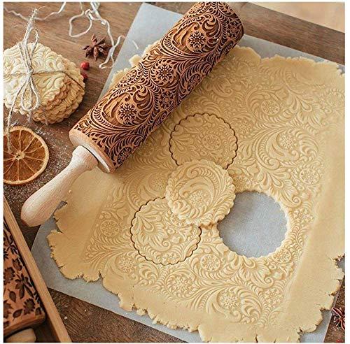 FENG Weihnachten Holz Teigroller Mit Blumen Muster, Weihnachten Prägerolle Nudelholz, Gravierte Teigroller mit Muster, Nudelhölzer Für Kekse und Kuchen...